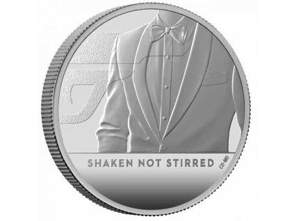 Stříbrná moderní mince James Bond Protřepat, Nemíchat 1 Oz proof 2020