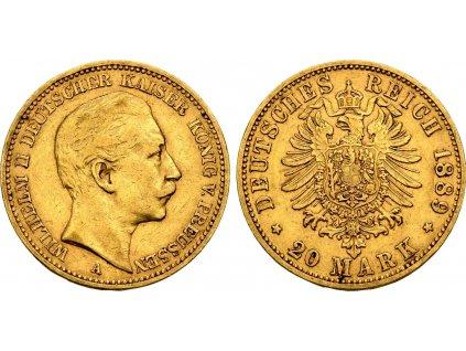 Zlatá 20 marka Vilém II. 1889