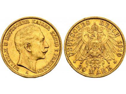 Zlatá 20 marka Vilém II. 1910