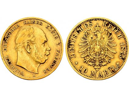 Zlatá 10 marka 1875 A