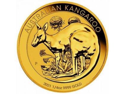 Investiční zlato-zlatá investiční australská mince nugget 1/4 Oz 2021