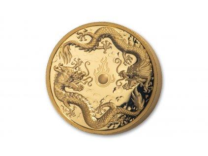 Moderní zlatá mince Dragon and Dragon 2019 proof 2 Oz