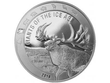 ghana 1 oz silver giants of the ice age 2019 giant deer 5 cedis