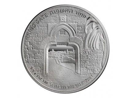 Stříbrná mince Dung Gate -série Brány Jeruzaléma 2020 1 Oz
