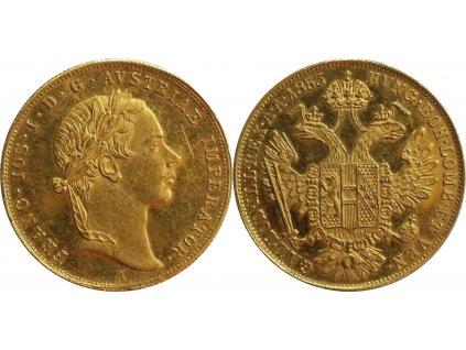 Zlatý dukát Františka Josefa I. 1853 A