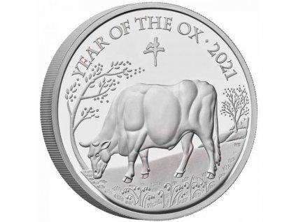 Stříbrná moderní mince Rok Býka 2021 5 Oz proof