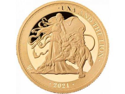 Zlatá moderní mince Una and The Lion 2021 proof 1/4 Oz