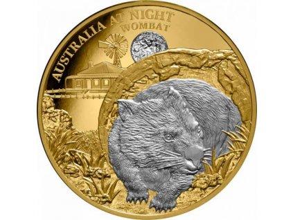 Zlatá moderní mince s platinou Noční Austrálie: Wombat 1 Oz proof 2021