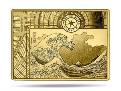 Investiční zlatá hranatá mince Hokusai 1/4 Oz  2020