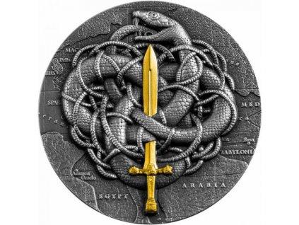 Moderní stříbrná mince The Gordian Knot 2 Oz proof 2021