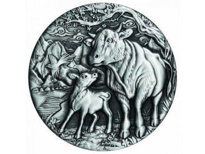 Stříbrná mince Rok Býka 2021 2 Oz- Vysoký reliéf