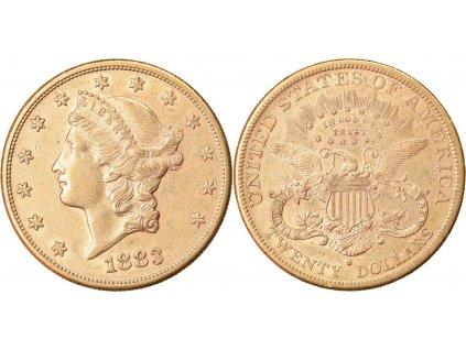Investiční zlatá mince americký double Eagle-Liberty 1883