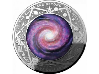 Stříbrná moderní mince The Earth and Beyond 1 Oz proof 2021