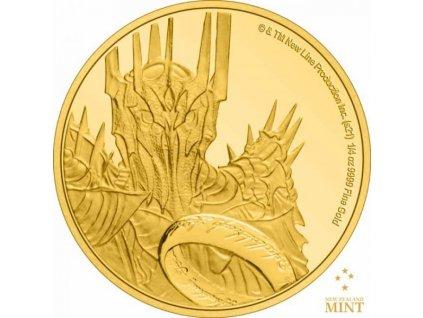 Zlatá moderní mince Pán prstenů- Sauron 2021 1/4 Oz proof