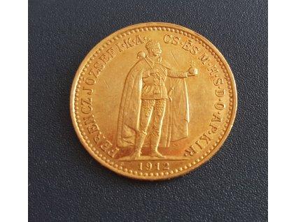 Zlatá 10 korona 1912 K.B-ražební lesk
