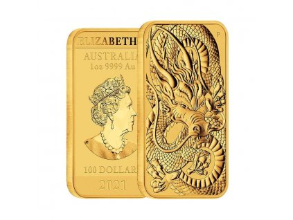 Zlatá investiční mince Drak 2021-100 AUD Austrálie 1 Oz