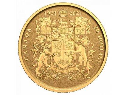 Moderní zlatá mince 100. výročí kanadského znaku 1/10 Oz 2021