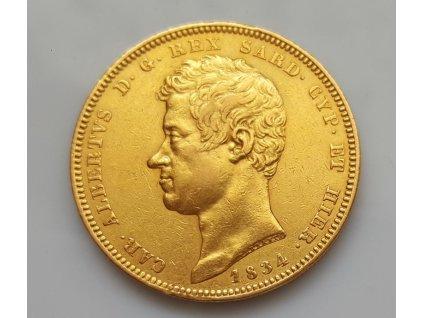 Zlatá mince král Carlo Alberto-Sardinie 100 lira 1834