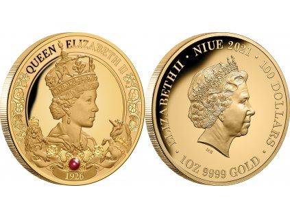 Zlatá mince s rubínem -95.výročí královny Alžběty II.-2021 proof