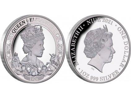 Stříbrná mince k 95. výročí narozenin královny Alžběty II.-2021-proof-Nový Zéland