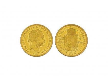 zlatý čtyřzlatník-deseti frank Uherská ražba 1888
