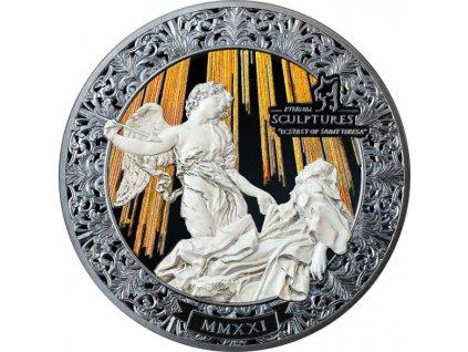 Stříbrná moderní mince Extáze Sv. Terezy 5 Oz 2021 proof