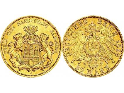 Zlatá 20 marka hanzovní 1899