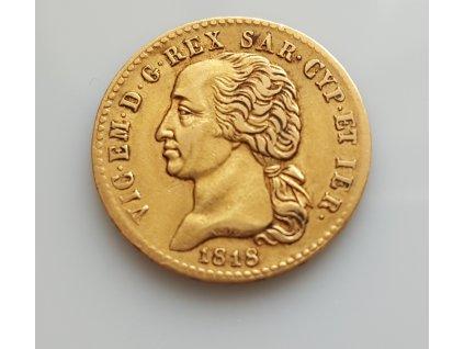 Zlatá mince 20 lira Vittorio Emanuelle I. -Sardinie 1818