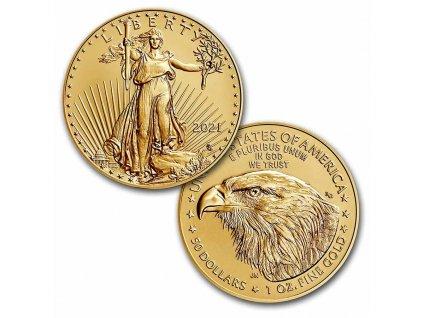 investiční zlatá mince Americký Eagle 1 Oz 2021-nový typ
