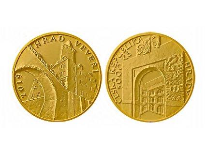 Zlatá mince hrad Veveří 2019-proof