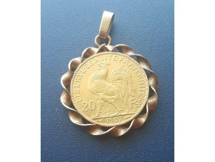 Zlatá mince francouzský 20 frank-kohout 1907-šperk