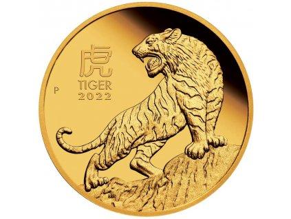 Zlatá mince rok tygra 2022-1/10 Oz proof-lunární série III.