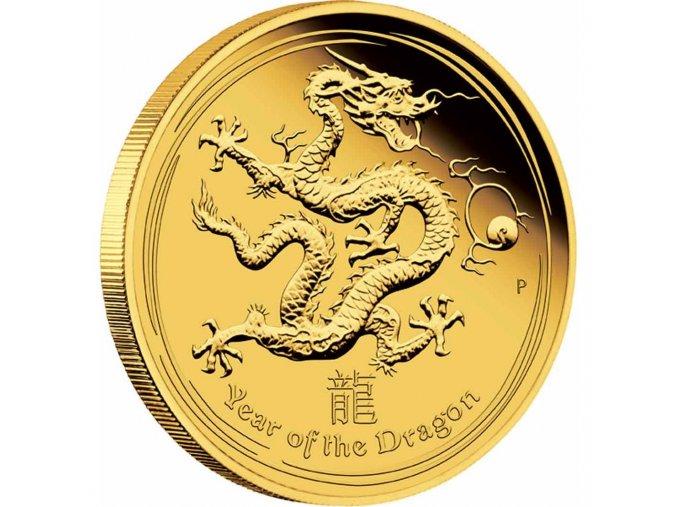 Investiční zlatá mince rok draka 2012 1/10 Oz