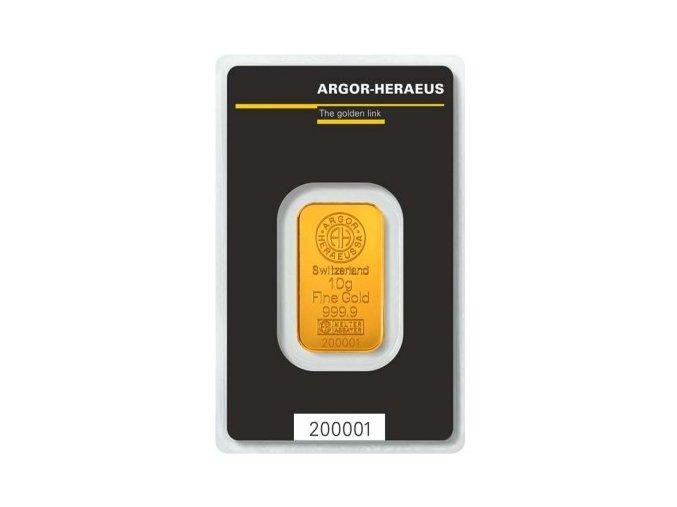 Investiční zlato-Zlatá investiční cihla Argor Heraeus 10g