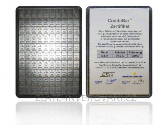 Investiční stříbrný kombi slitek Heimerle-Meule Valcambi 100 x 1g