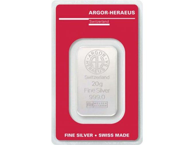 Investiční stříbrný slitek Argor Heraeus 20g