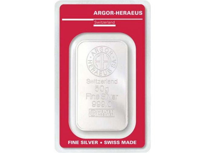 Investiční stříbrný slitek Argor Heraeus 50g