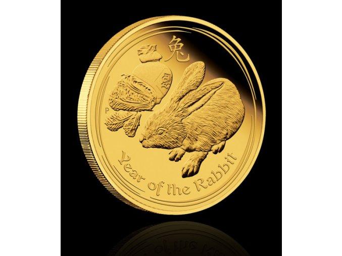 Investiční zlatá mince rok králíka 2011 1/10 Oz