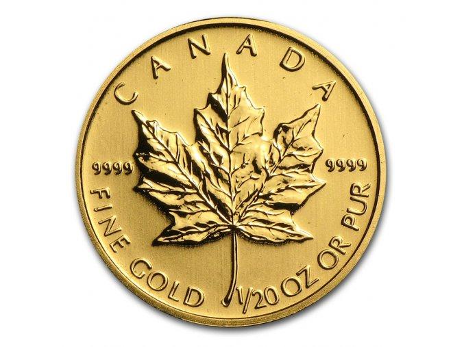 Investiční zlatá mince kanadský Maple leaf 1/20 Oz