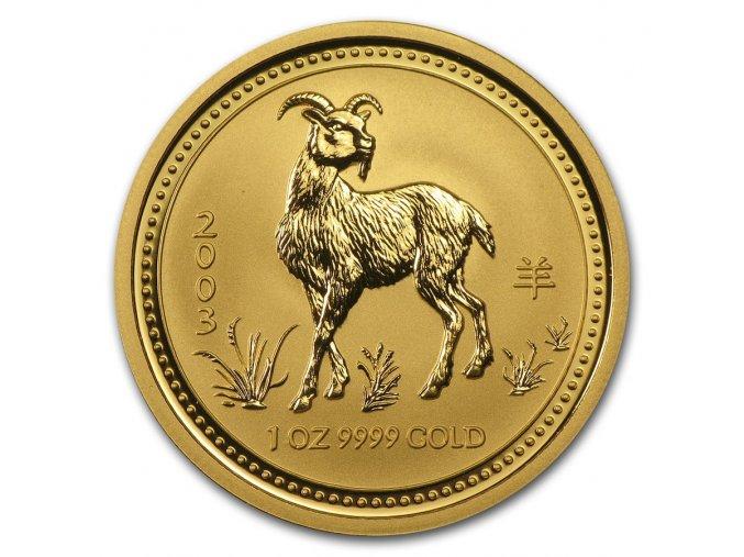 Investiční zlatá mince rok Kozy 2003 1/4 Oz