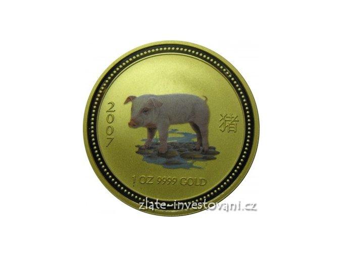 Investiční zlatá mince rok Vepře 2007 1/4 Oz