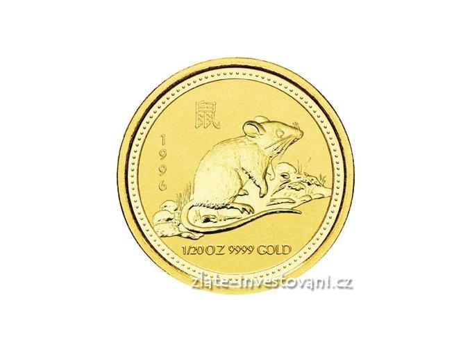 Investiční zlatá mince rok myši 1996 1/20 Oz