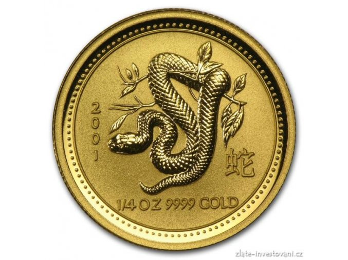 Investiční zlatá mince rok Hada 2001 1/4 Oz
