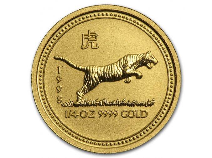 Investiční zlatá mince rok Tygra 1998 1/4 Oz
