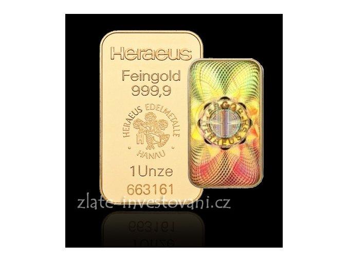Investiční zlatáý slitek Heraeus kinebar 1 Oz