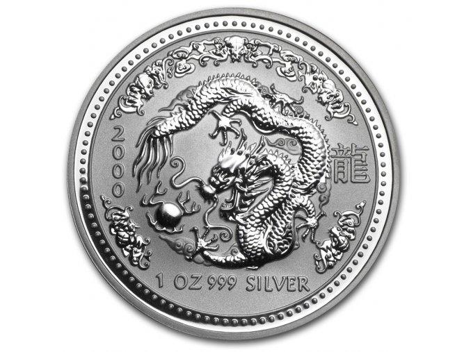 Investiční stříbrná mince rok draka 2000 1 Oz
