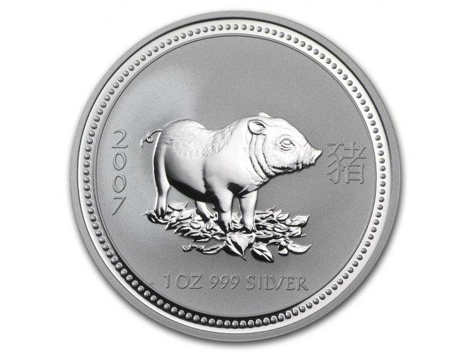 Investiční stříbrná mince rok vepře 2007 1 Oz