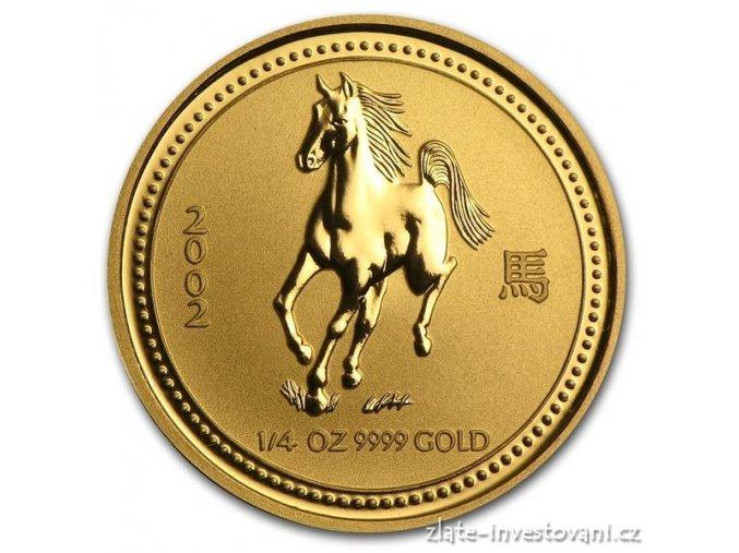 Investiční zlatá mince rok koně 2002 1/4 Oz