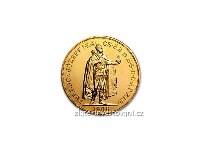 2846 zlata mince stokoruna frantiska josefa i uhersko 1908 stojici panovnik