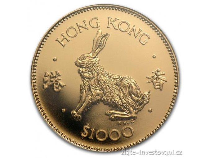 2951 investicni zlata mince kralik 1987 hongkong 1 2 oz